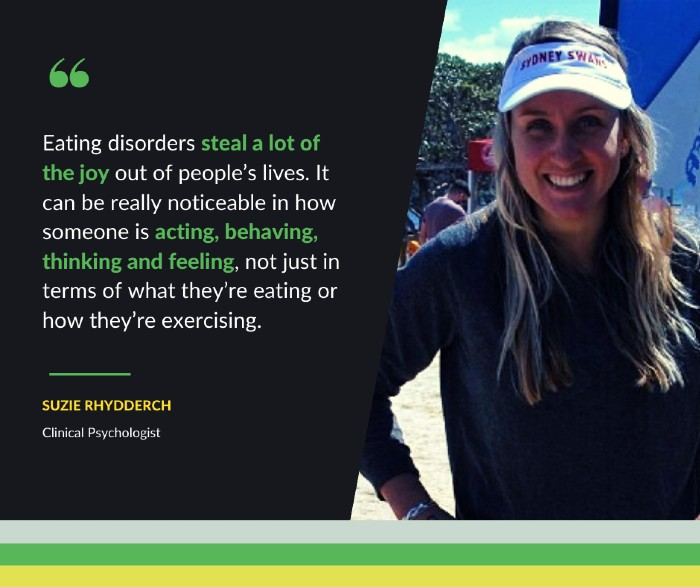 Suzie Rhydderch is a clinical psychologist on eating disorders in sport.