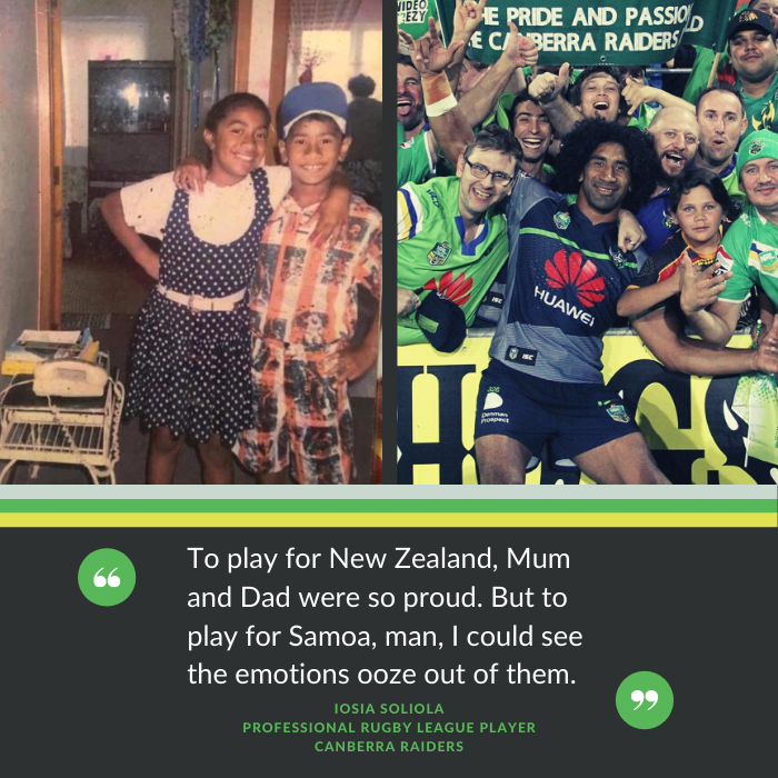 Sia Soliola, professional rugby league  player with the Canberra Raiders