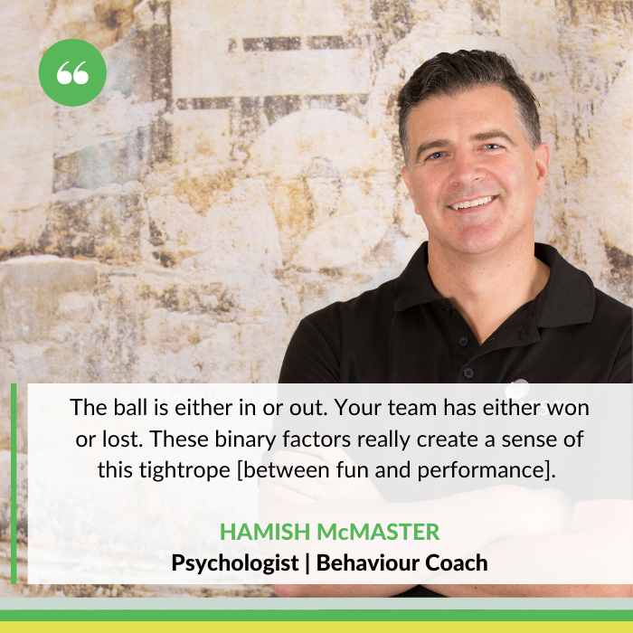 Hamish McMaster, psychologist and behaviour coach for adolescent athletes, parents and coaches.